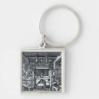 Máquina impressora chaveiro quadrado na cor prata