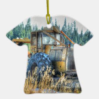 Maquinaria de fazenda, trator, Para trás-Hoe, Ornamento De Cerâmica Camiseta