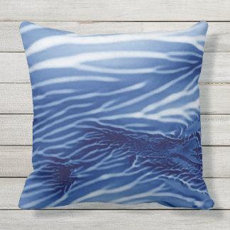 Mar azul abstrato Monoprint Almofada