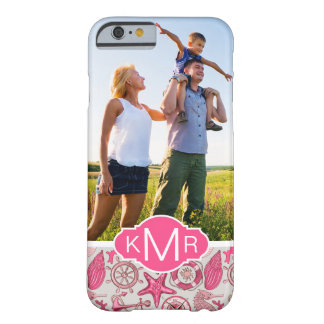 Mar cor-de-rosa Pattern| seus foto & monograma Capa Barely There Para iPhone 6
