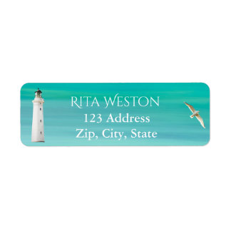 Mar de turquesa e etiqueta do retorno do endereço etiqueta endereço de retorno