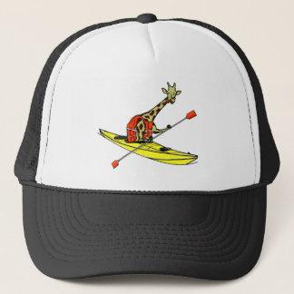Mar do girafa dos desenhos animados que kayaking boné
