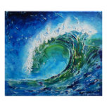 Mar do oceano da onda da pintura a óleo das belas  impressão