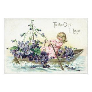 Mar do veleiro das violetas da menina impressão de foto
