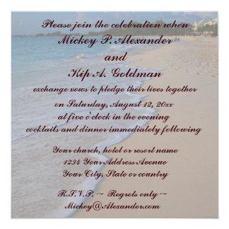 Mar e Sandy Beach tropicais de turquesa Convite Quadrado 13.35 X 13.35cm
