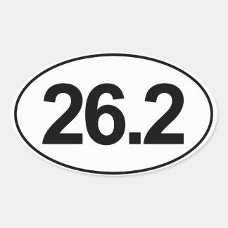 Maratona 26,2 milhas de etiqueta oval (branca) adesivo oval
