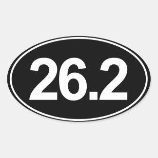 Maratona 26,2 milhas de etiqueta oval (preto) adesivo oval