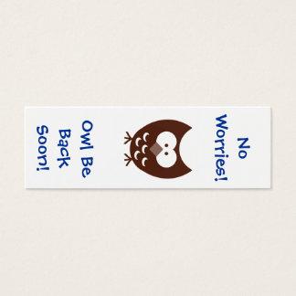 Marcador da coruja! cartão de visitas mini