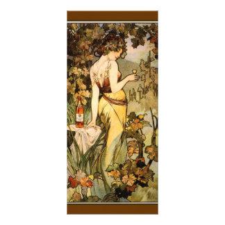 Marcador do conhaque de Nouveau Mucha da arte 10.16 X 22.86cm Panfleto