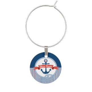 Marcador Para Taças De Vinho A fita náutica da corda da âncora listra o azul