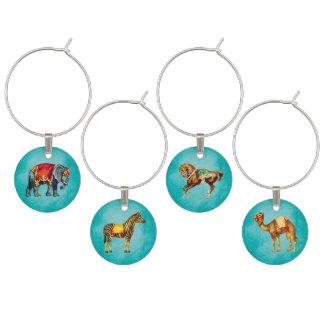 Marcador Para Taças De Vinho Animais de circo do vintage no Aqua