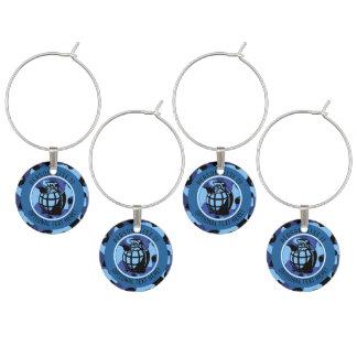 Marcador Para Taças De Vinho As forças armadas azuis camuflam com granada