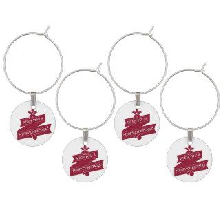 Marcador Para Taças De Vinho Branco e desejo vermelho você Feliz Natal