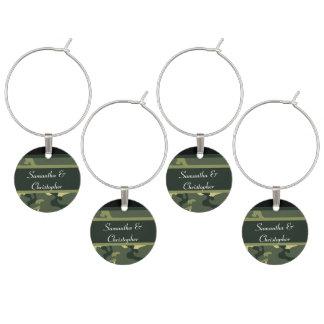 Marcador Para Taças De Vinho Camo verde do exército personalizado
