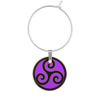 Marcador Para Taças De Vinho Céltico roxo Triskele ou encanto espiral triplo do