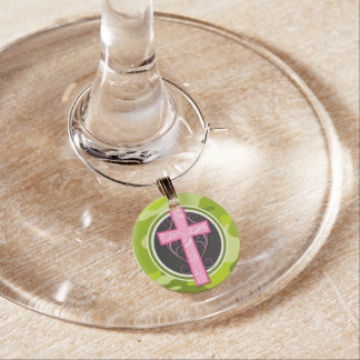 Marcador Para Taças De Vinho Cruz cor-de-rosa; camo verde-claro, camuflagem