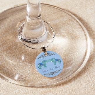Marcador Para Taças De Vinho Elefante do Henna (azul/luz - azul)