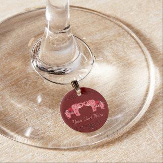 Marcador Para Taças De Vinho Elefante do Henna (vermelho/rosa)