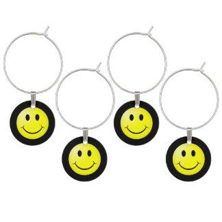 Marcador Para Taças De Vinho Emoticon do smiley do amarelo do cultura Pop 80s
