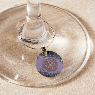 Marcador Para Taças De Vinho Encanto celta roxo do vinho do nó do protetor do