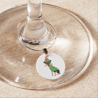 Marcador Para Taças De Vinho Encanto mínimo do vidro de vinho do cão do Natal