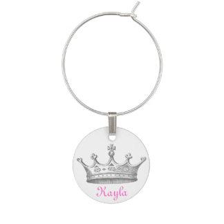 Marcador Para Taças De Vinho Encanto personalizado coroa do vinho da rainha do