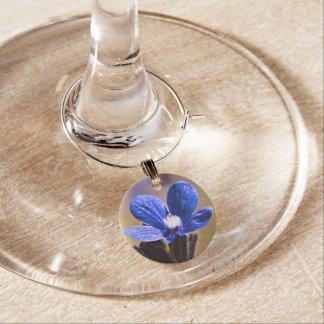 Marcador Para Taças De Vinho Flor selvagem azul