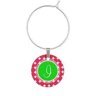 Marcador Para Taças De Vinho Monograma verde & vermelho das bolinhas