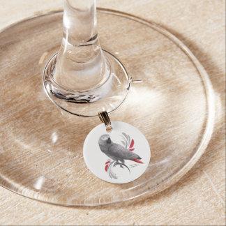 Marcador Para Taças De Vinho Papagaio do cinza africano