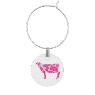 Marcador Para Taças De Vinho Silhueta do rosa quente e do branco da vaca