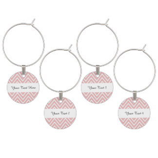 Marcador Para Taças De Vinho Teste padrão 2 de Chevron do rosa de bebê