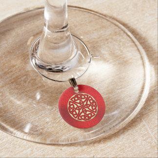 Marcador Para Taças De Vinho Vermelho e encanto celta do vinho do nó do ouro