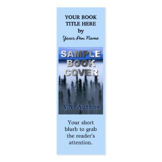 Marcador pequeno da capa do livro da promoção do cartões de visitas