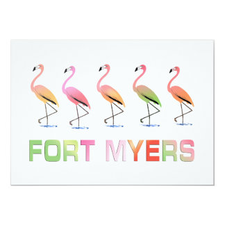 Março dos flamingos tropicais FORT MYERS Convites Personalizados