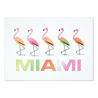 Março dos flamingos tropicais MIAMI Convite Personalizado