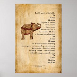 """""""Março"""" no poster do pergaminho do elefante do poe"""
