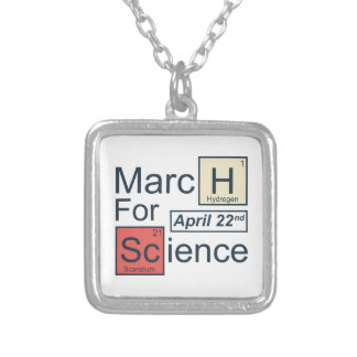 Março para a ciência colar banhado a prata