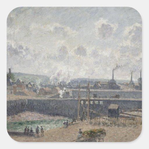 Maré baixa em Duquesne Doca, Dieppe, 1902 Adesivo Quadrado