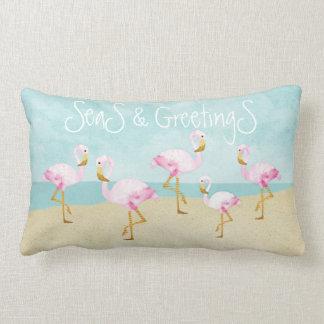 Mares e flamingos cor-de-rosa dos cumprimentos almofada lombar