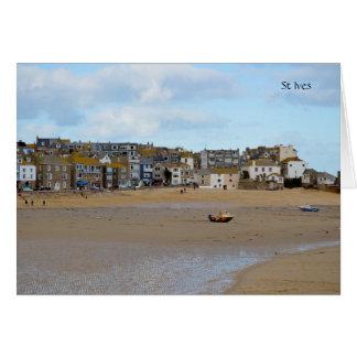 Marés para fora St Ives Cornualha Inglaterra Cartão