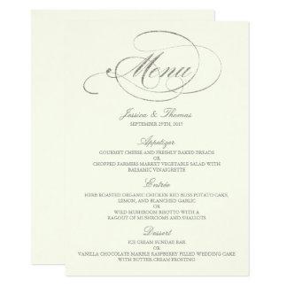 Marfim chique do molde do menu do casamento da convite 11.30 x 15.87cm