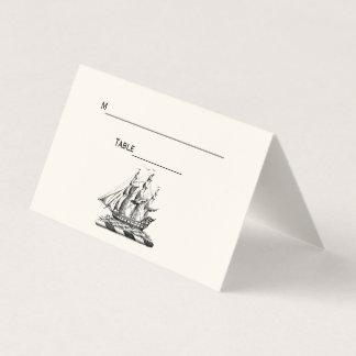 Marfim do cartão da escolta do lugar do navio de