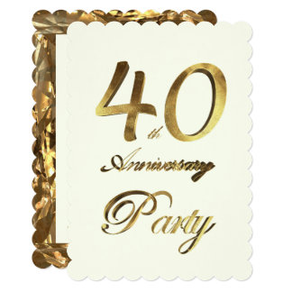 Marfim do ouro do aniversário do aniversário de 40 convite 12.7 x 17.78cm