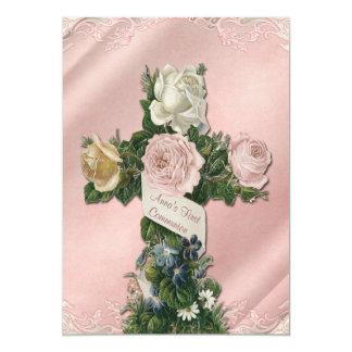 Marfim do vintage e comunhão do rosa coral convite 12.7 x 17.78cm
