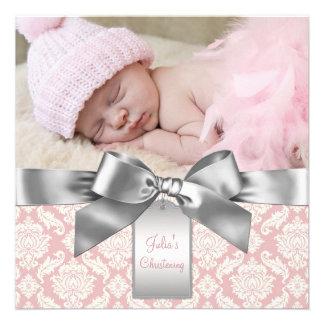 Marfim e batismo cor-de-rosa da foto do bebé do da