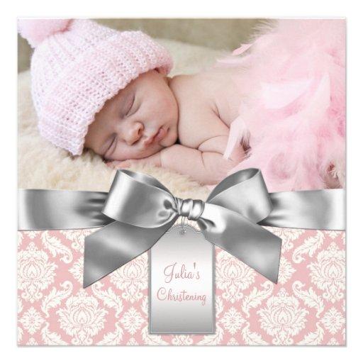 Marfim e batismo cor-de-rosa da foto do bebé do da convite personalizado