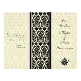 Marfim e programa preto do casamento tema damasco panfletos coloridos