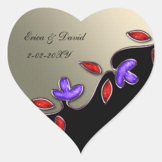 marfim e selos vermelhos dos envelopes florais adesivo de coração