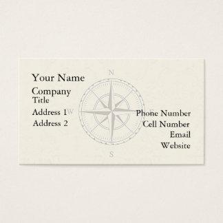 Marfim náutico do compasso do vintage cartão de visitas