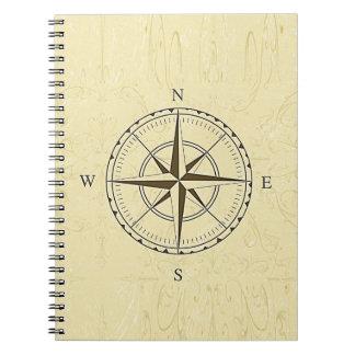 Marfim náutico do rosa de compasso do vintage cadernos